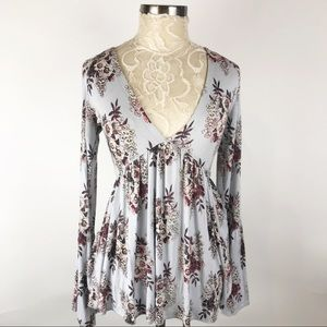 Free people blue floral baby doll top Boho